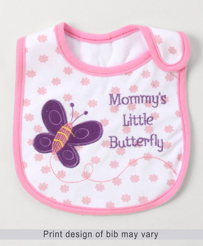 Babyhug Bib Velcro Closure Butterfly Embroidery - White And Pink