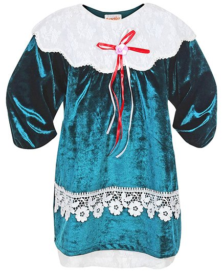 Bambini Party Wear Frock With Satin Rose And Ribbons - Green And White