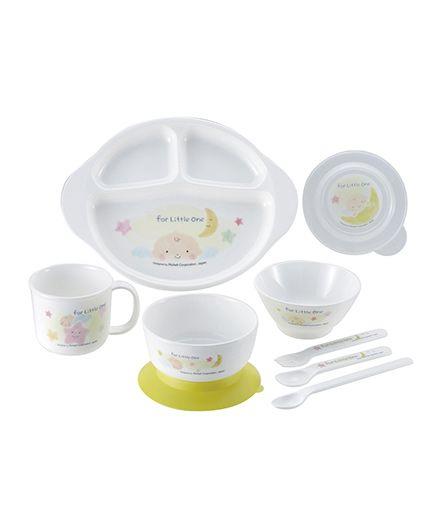 Richell Feeding Set Pack Of 9 - Green White