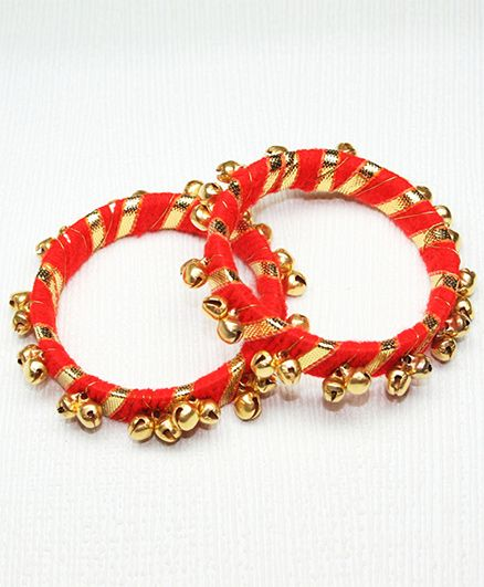 Asthetika Gota Ghungroo Bangle - Red