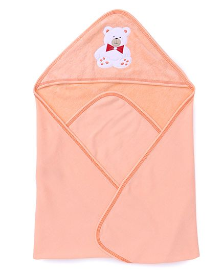 Child World Solid Color Teddy Patch Hooded Towel - Peach