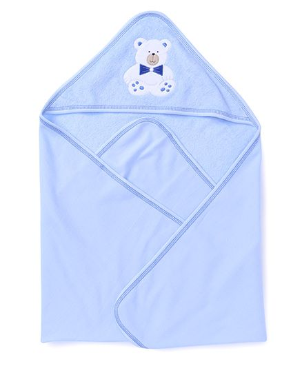 Child World Solid Color Teddy Patch Hooded Towel - Blue