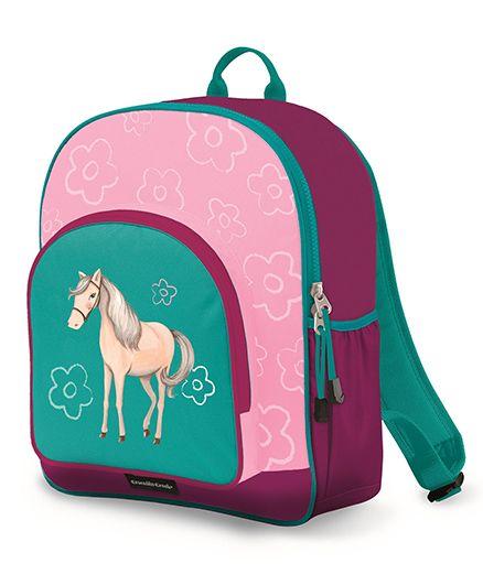 Crocodile Creek Backpack Horse Print Pink Green - 14 inches