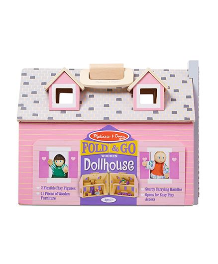 Melissa & Doug Fold & Go Wooden Mini Dollhouse