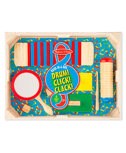 Melissa & Doug Band In A Box Drum Click Clack - Multicolor