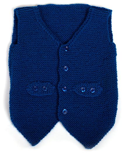 MayRa Knits Sleeveless Waistcoat - Blue