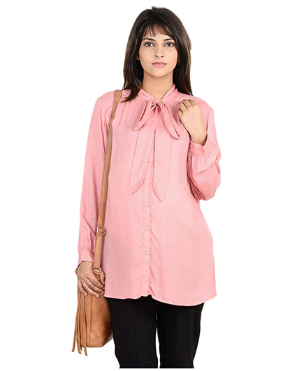 9teenAGAIN Full Sleeves Pussy Bow Maternity Shirt - Pink