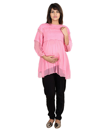 9teenAGAIN Full Sleeves Maternity Blouse Chiffon Smocked Panel - Pink