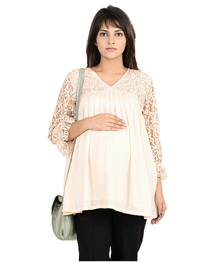 9teenAGAIN Lace Yoke & Sleeve Flared Maternity Blouse - White
