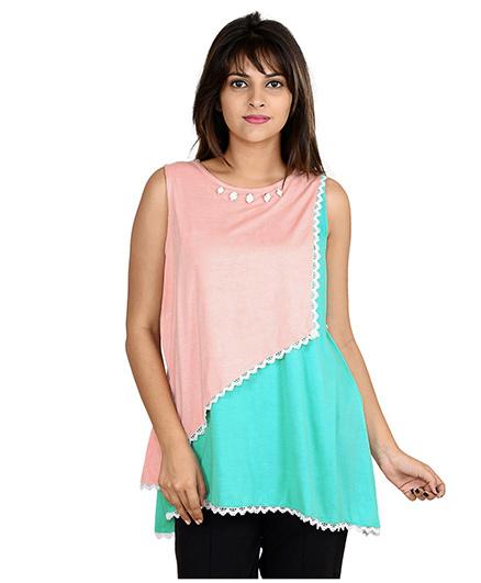 9teenAGAIN Sleeveless Asymmetrical Color Block Casual Nursing Top - Peach & Turquoise