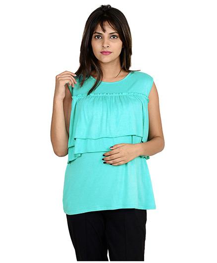 9teenAGAIN Sleeveless Double Layered Maternity Nursing Top - Turquoise