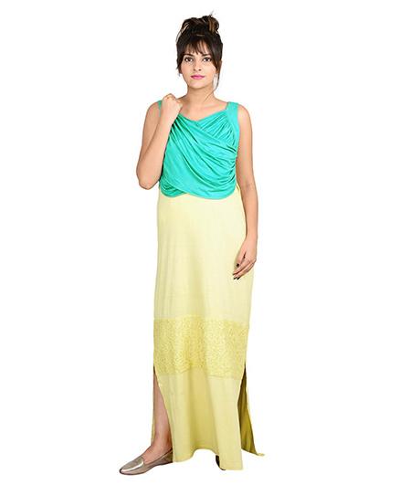 9teenAGAIN Sleeveless Loungewear Draped Panel Nursing Maxi Dress - Yellow & Sea Green