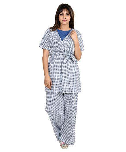 9teenAGAIN Gingham Check Print Nursing Night Suit - Blue