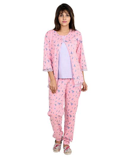 9teenAGAIN Watermelon Print Nursing Night Suit - Pink