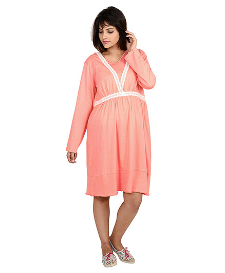 9teenAGAIN Full Sleeves Nursing Night Dress - Peach