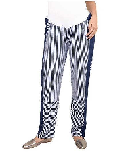 9teenAGAIN Maternity Striped Leisure Pants - Blue