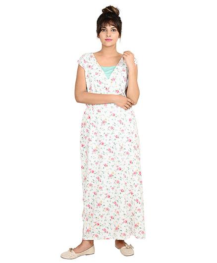 9teenAGAIN Short Sleeves Maternity Dress Floral Print - White