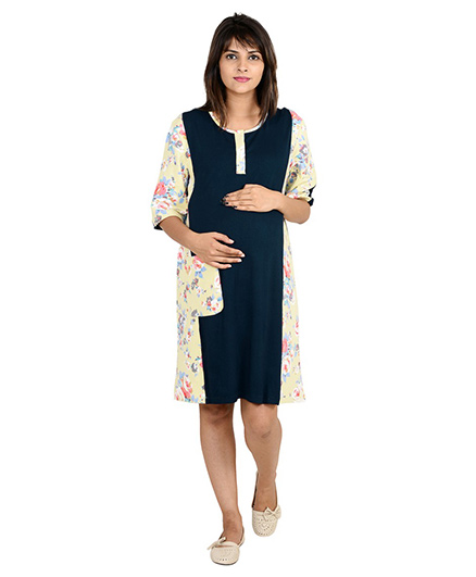 9teenAGAIN Solid And Print Patch Maternity Night Wear Dress - Navy Blue
