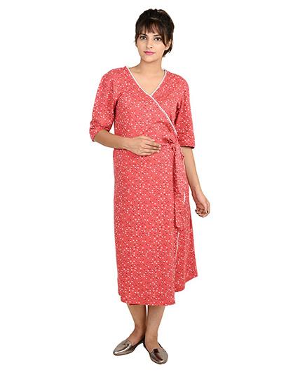 9teenAGAIN Half Sleeves Maternity Nighty Flroal Print - Red