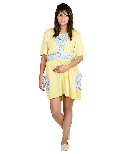 9teenAGAIN Solid And Print Patch Night Wear Dress - Yellow