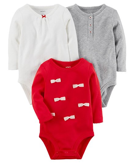 Carters 3-Pack Long-Sleeve Original Bodysuits - White Red Grey