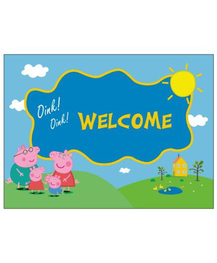Peppa Pig Theme Entrance Banner Door Sign - Blue Green