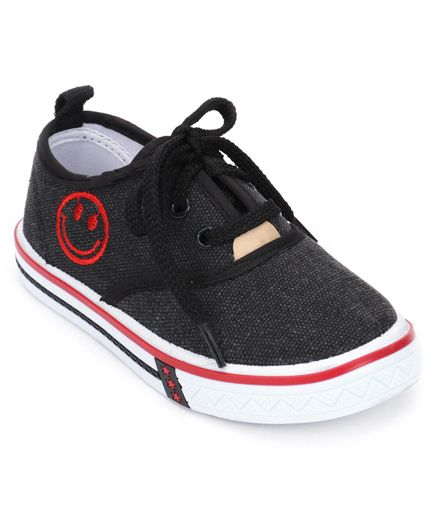 Cute Walk by Babyhug Casual Lace Up Shoes Smiley Design - Black & White