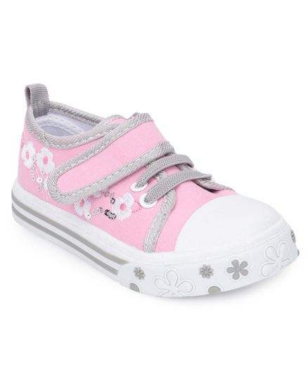 Cute Walk by Babyhug Casual Shoes Floral Embroidery - Light Pink Grey