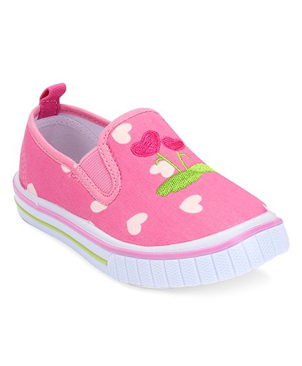 Cute Walk by Babyhug Slip-On Shoes Heart Embroidery - Pink