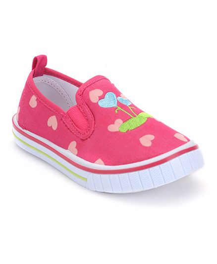 Cute Walk by Babyhug Slip-On Shoes Heart Embroidery - Fuchsia Pink
