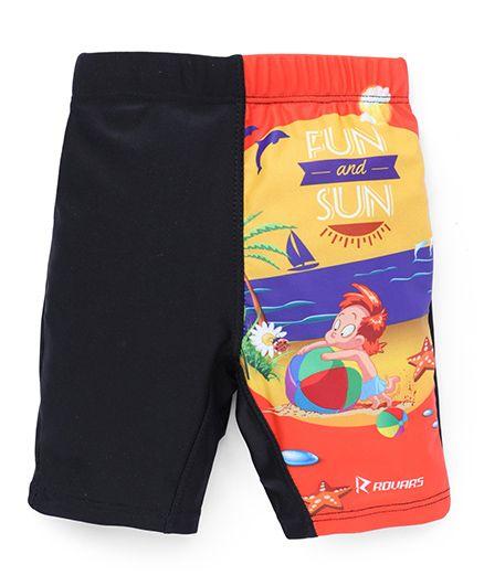 Rovars Swimming Trunks Fun & Sun Print - Black & Multicolor