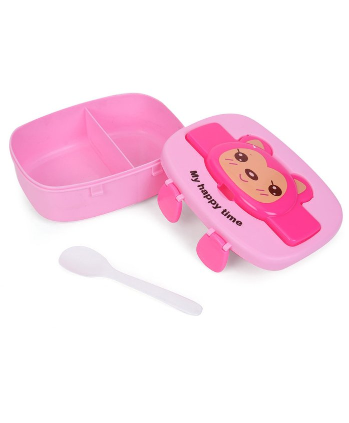 Animal Face Print Lunch Box With Spoon - Pink