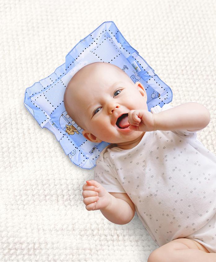 Babyhug Lovely Friends Print Pillow - Blue