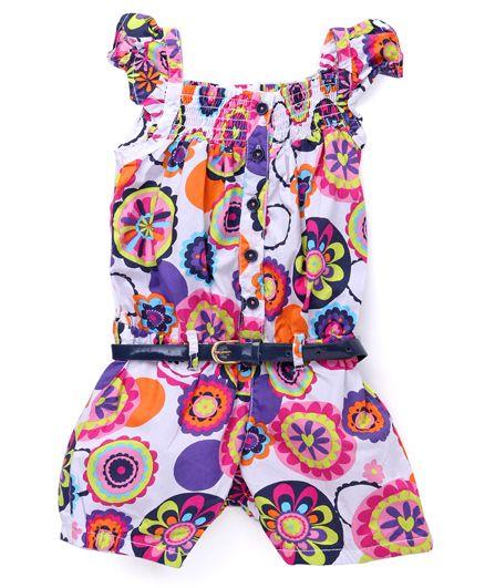 Vitamins Flutter Sleeves Jumpsuit Floral Print - White Dark Pink