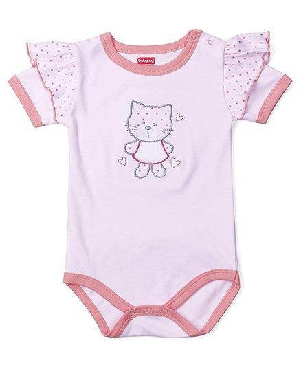 Babyhug Half Sleeves Onesie Kitty Embroidery - Pink