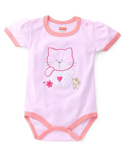 Babyug Half Sleeves Onesies Kitty And Mouse Embroiderey - Pink