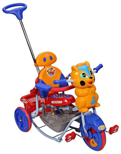 Mee Mee Kitty Tricycle With Push Handle And Basket Yellow - BT-820