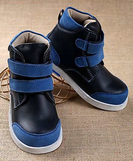 Tuskey High Ankle Boots Double Velcro Closure - Blue Black