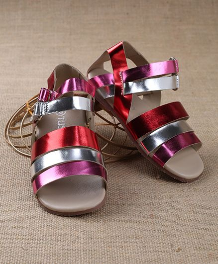 Tuskey Metallic Style Sandals With Velcro Closure - Multi Color