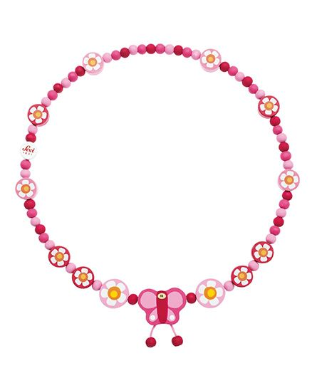Sevi Wooden Butterfly Necklace - Pink