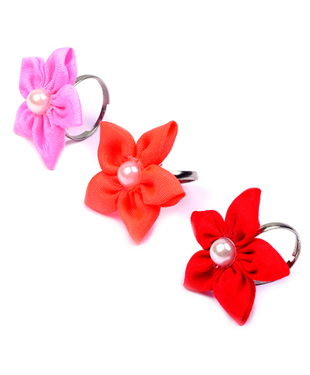 Knotty Ribbons Adjustable Handmade Flower Rings - Pink Red & Orange