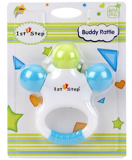 1st Step Buddy Rattle - Blue Green White