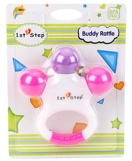 1st Step Buddy Rattle - Pink Purple White