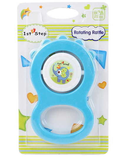 1st Step Rotating Rattle Elephant Print - Blue