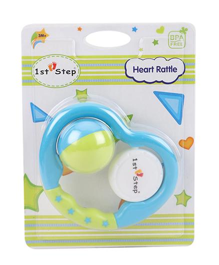 1st Step Heart Rattle - Blue & Green