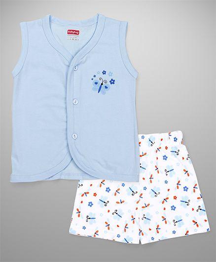 Babyhug Sleeveless Vest & Shorts Set Butterfly Print - Blue White
