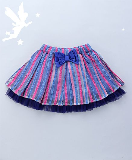 Soul Fairy Attractive Flared Skirt With Bow Detailing - Blue & Pink
