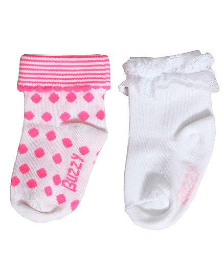 Buzzy Socks Diamond Design And Plain With Lace Set Of 2 Pair - Pink White