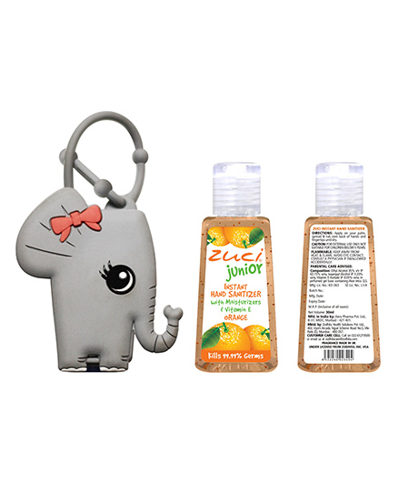 Zuci Junior Orange Hand Sanitizer With Elephant Bag Tag - 30 ml