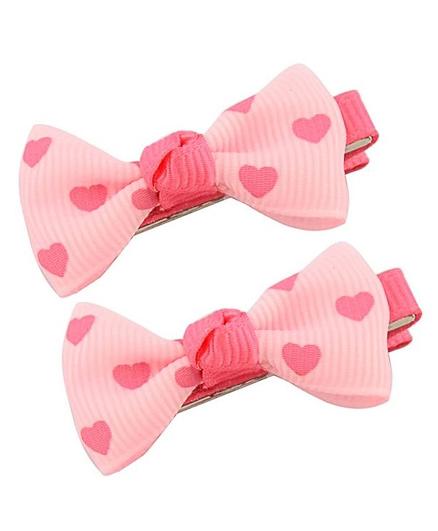 Angel Closet Heart Print Hair Clips - Pink